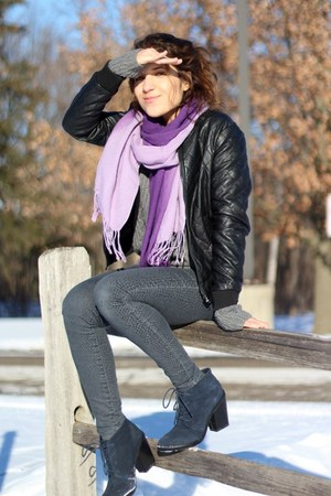 black Forever 21 jacket - navy suede shoemint boots