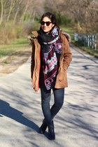 magenta H&M scarf - navy shoemint boots - camel Forever 21 coat - gray Gap jeans