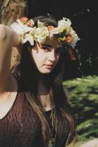 floral crown hat - black long maxi charlotte rousse dress