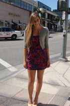 gray moms closet cardigan - red Forever 21 dress - beige Chanel shoes - silver C