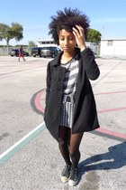 black quilted Forever 21 coat - black stripe Forever 21 shirt