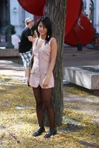 black H&M stockings - pink thrifted top - black H&M shoes - green Gryson purse -