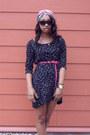Black-star-print-zara-dress-pink-braided-belt-black-marc-jacobs-watch