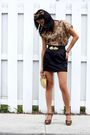 Black-forever-21-skirt-brown-charlotte-russe-shoes-gold-vintage-purse-gold