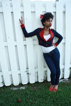 red f21 blazer - blue f21 jeans - red Bamboo shoes - white f21 shirt - white For