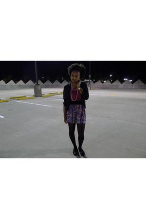 black blazer - hot pink shirt - black tights - amethyst skirt - black sequins fl