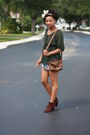Green-h-m-shirt-pink-forever-21-skirt-brown-payless-boots-brown-dkny-purse