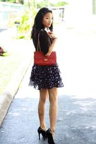 black Mossimo shoes - red vintage bag - black Forever 21 cardigan