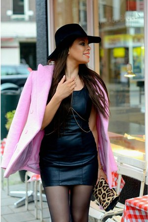 black MYCA Couture hat - bubble gum Carven coat - brown River Island bag