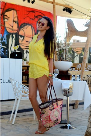 yellow Zara shorts - yellow Zara blouse - Zara sandals