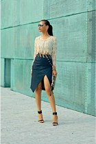 navy denim River Island skirt - brown River Island bag - black Zara heels