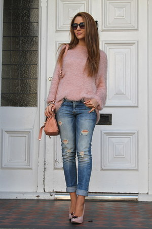 pink Three Floor jumper - metallic heel asos shoes - denim Zara jeans