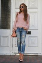 pink Three Floor jumper - metallic heel asos shoes - denim Zara jeans
