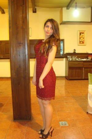 brick red lace unknown dress - brown Deichmann heels