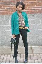 Sigerson Morrison boots - BDG jeans - vintage jacket - thrifted blouse