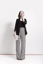 white H&M bag - black cotton H&M top - Zara pants - H&M wedges