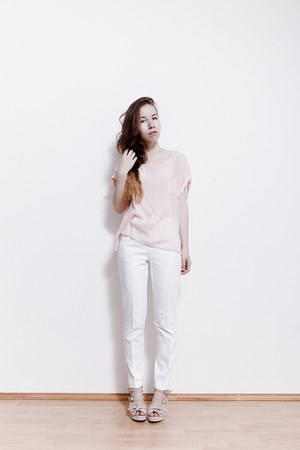 white Zara pants - light pink vintage top - light pink from Korea wedges
