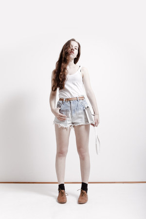 H&M bag - bleached denim DIY shorts - vintage belt - ovs flats - cotton tvoe top