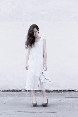 white H&M dress - white from Korea bag - olive green H&M wedges