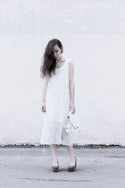 white H&M dress - white from Korea bag - olive green H&M wedges