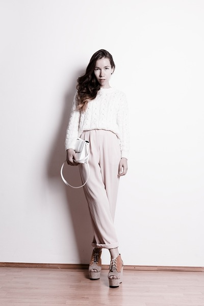 white from Korea sweater - white H&M bag - light pink vintage pants