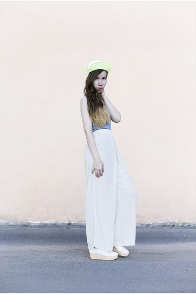 white chiffon from Korea pants - light yellow no name hat