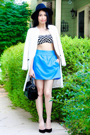 bandeau Forever 21 top - white Zara coat - black Zara hat