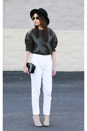 leather Mango sweater - verawang bag - Zara pants