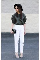 leather Mango sweater - verawang bag - Zara pants