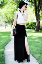 Forever 21 hat - Zara boots - Zara bag - Forever 21 skirt - Forever 21 top