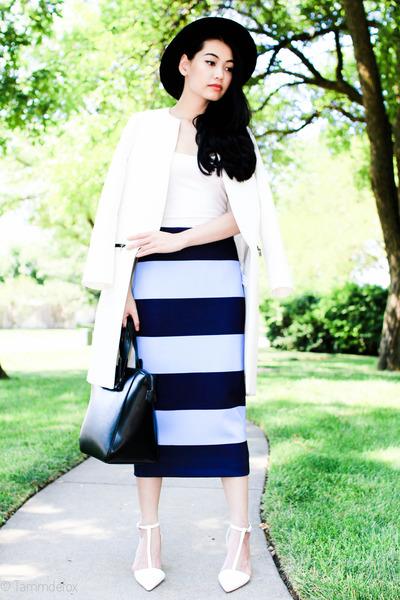 white whit Zara coat - black Zara hat - black Zara bag