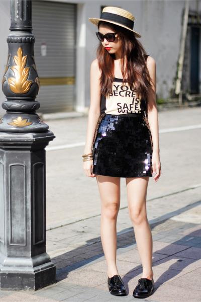 H&M skirt - Topshop shoes - H&M hat - H&M sunglasses - H&M top