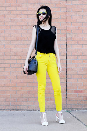 yellow Zara jeans - black gifted bag - black Zara top - white Zara heels