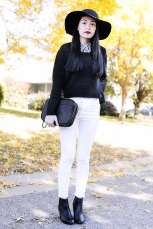 plaid Forever 21 shirt - Zara boots - black H&M sweater - 31 Phillip Lim bag