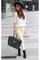 cream lemon cream Topshop jeans - Zara hat - Zara shirt - 31 Phillip Lim bag