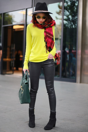 neon Forever21 sweater - Topshop jeans - Zara hat - H&M scarf