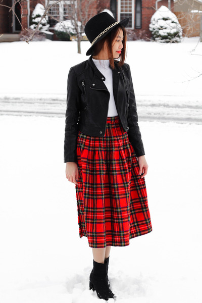 thrift skirt - H&M boots - Zara hat - leather Topshop jacket