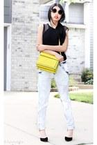 lime Zara bag - boyfriend jeans Zara jeans - Zara top - vam heels Zara heels