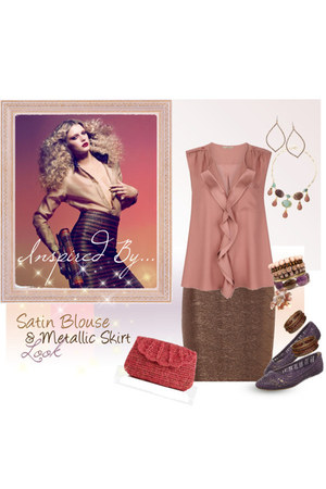 brown metallic Jane Norman skirt - coral clutch raffia Mar Y Sol bag