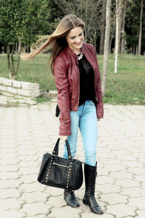 brick red Stradivarius jacket - black Stradivarius bag