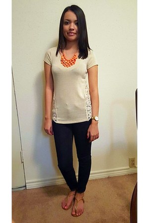 carrot orange necklace - navy H&M jeans - watch - beige crochet detail top