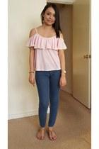 light pink crochet detail top - navy Forever 21 jeans - tan sandals