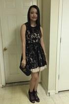 black dress - black tory burch bag - black lace-up Chinese Laundry heels