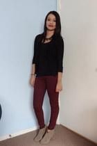 camel Carlos Santana boots - black Agaci cardigan - brick red Forever 21 pants
