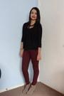 Camel-carlos-santana-boots-black-agaci-cardigan-brick-red-forever-21-pants