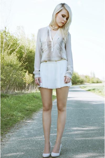 Zara shorts - white Zara blouse - Zara pumps