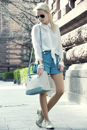 white Primark bag - teal Primark shorts - white Zara blouse - white Zara flats