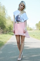 light pink Zara skirt - white Twinnecom shirt