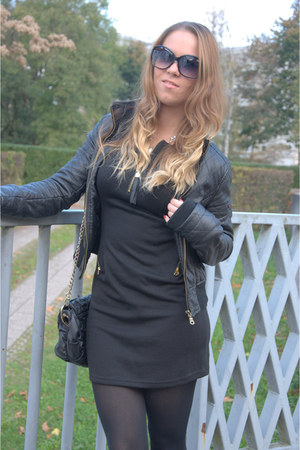 black Bershka boots - black Zara dress - black Stradivarius jacket