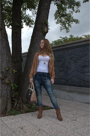 tawny Bershka jacket - tawny Stradivarius boots - beige Zara shirt